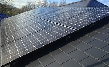 LG Mono photovoltaic panels matching roof aesthetic