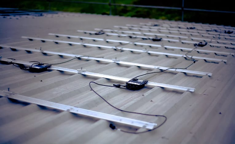 SolarEdge power optimiser array on rooftop